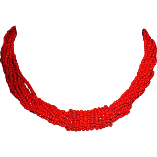 Vintage Red Coral Glass Beaded Choker Necklace Twisted