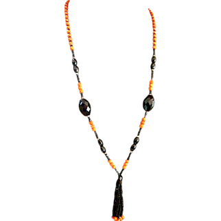 Art Deco Orange & Black Glass Tassel Necklace Faceted