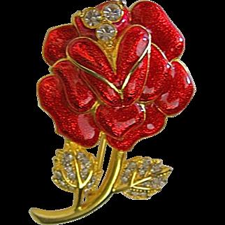 Red Enamel & Rhinestone Rose Pin