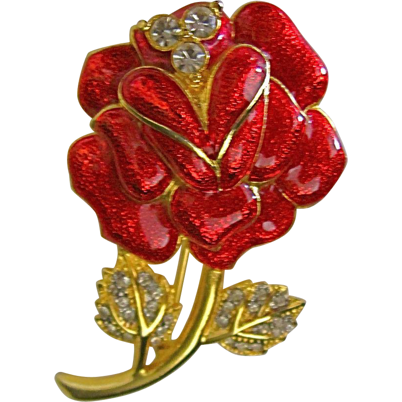 Red Enamel & Rhinestone Rose Pin