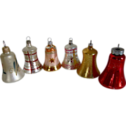 Vintage Christmas Glass Bells Ornaments Clappers