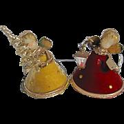 Vintage Koestel Angel Christmas Ornaments Pair Wax Face German