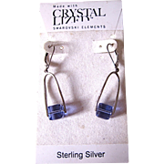 Swarovski Elements Crystal & Sterling Purple Dangling Earrings
