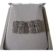 Vintage Sterling Silver Marcasite  Earrings Signed Basket Weave Design