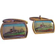 Vintage Ocean Liner 1930s Gold Gilt Celluloid Cuff Links Hand Colored