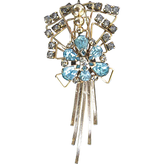 Art Deco M&S Rhinestone Gold Filled Pendant Brooch Combination