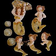 Vintage Ceramic Mermaids Bubbles Wall Art