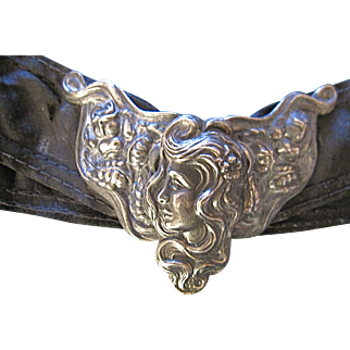 Art Nouveau Silver Overlay Buckle Women's Profile Flowing Hair