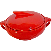 Chinese Red Hall China Ceramic Sundial Covered Casserole, Deco