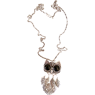 Vintage Owl Pendant Blk Stone Eyes Long Silver Chain 1960's