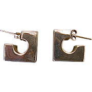 Sterling Geometric Design Pierced Earrings