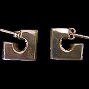 Sterling Geometric Design Pierced Earrings