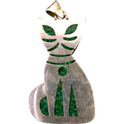 Vintage Mexican Silver Cat Pendant Double Sided Turquoise Inlay & Jade Inlay