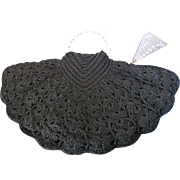 Vintage Black Fan Shaped Crochet Knit Purse Lucite Handles & Zipper Pull