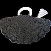 Vintage Black Fan Shaped Crochet Knit Purse Lucite Handles & Zipper Pull