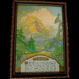 Buzza Motto 1928 Comradeship Edgar Guest Art Deco Park Mountains Rangers
