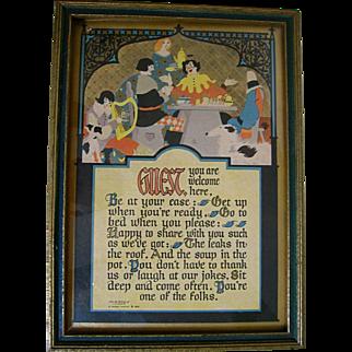 Vintage Buzza Motto Guest 1925 J.P. McEvoy Art Deco Artist signed Borzoi