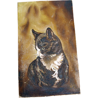 Old Vintage Oil Painting of a Kitty Cat Folk Art Artist signed