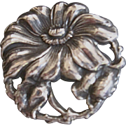 Art Nouveau Sterling Silver Flower Poppy Pin Great Detail