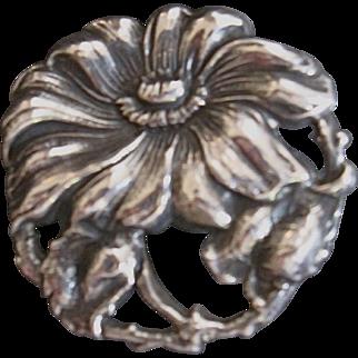 Art Nouveau Sterling Silver Flower Poppy Pin Great Detail