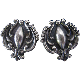 Vintage Mexican Sterling Silver Earrings Taxco Lopez Screw Back Earrings 980