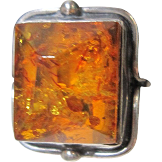 Vintage Amber & Sterling Silver Ring Handcrafted Size 9 Women's Midcentury