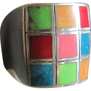 Multi Stone Mosaic Dome Ring Sterling Silver Women's size 8