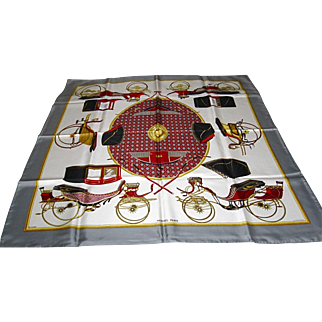 "Authentic Hermes Silk Scarf, ""Voitures A Transformation, La Perriere"