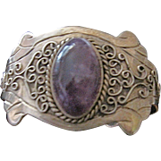 Old Mexican Sterling  Amethyst Cuff Bracelet Large Heavy
