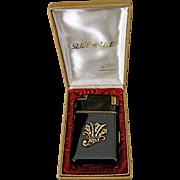 Art Deco Black & Rhinestone Marathon Cigarette Case/Lighter Slide-a-light NIB