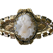 Victorian Carved Pink Shell Cameo Brass Engraved Pin Unusual Lovely Face