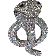 Striking Crystal Rhinestone Hooded Desert Poison Cobra Snake Serpent Pin Brooch