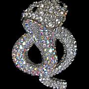Striking Crystal Rhinestone Hooded Desert Poison Cobra Snake Serpent Pin Brooch