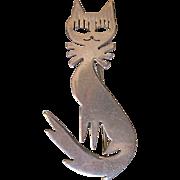 Vintage Mexico Taxco Silver Cat Mid Century Design-TA-109 Pendant/pin brooch