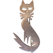 Vintage Mexico Taxco Silver Cat Mid Century Design-TA-109 Pendant/pin brooch