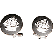 Vintage Wedgwood Clipper Ship Cuff Links- Black Jasper Sterling-Unisex