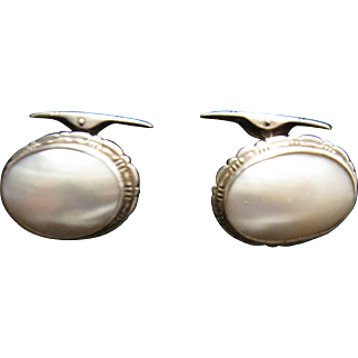 Vintage Mother of Pearl Silver Cuff Links 800 silver