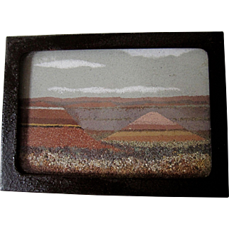 Vintage Desert Sand Painting  Frank R. Speck Co. A Bit of the Painted Desert Glass & Sand painting