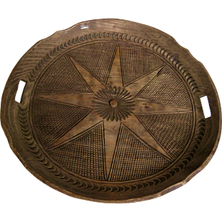 Folk Art Hand Carved Wood Tray-Star Burst Hand Cuts Unique