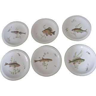 Vintage Fish Porcelain Plates Bavarian Germany Set of Six