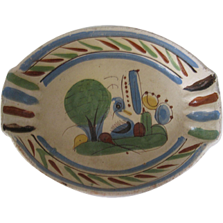 Old Mexican Pottery Serving Bowl Duck Cactus