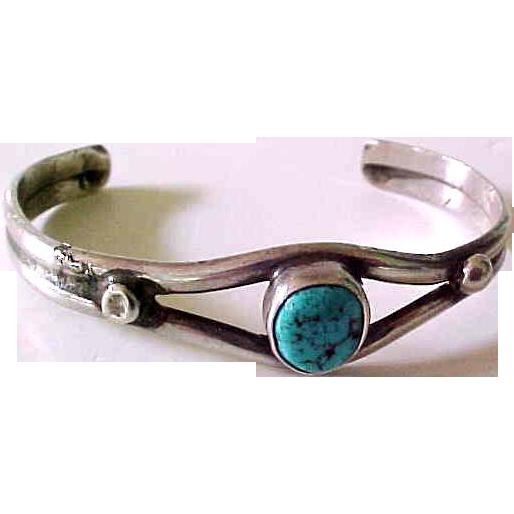 Vintage Navajo Child's Silver & Turquoise Bracelet