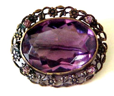 Victorian Brass & Amethyst Pin-Floral Detail -C Clasp