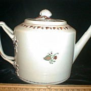 Chinese Export Teapot w/ Strawberry Decoration & Strap Handle c. 1880