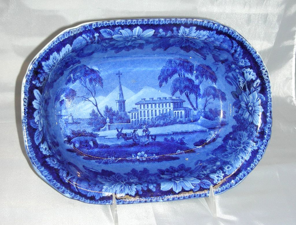 Large Dark Blue Historical Staffordshire Serving Dish:  American Villa Pattern