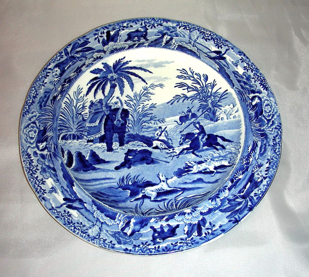 Blue Staffordshire Indian Sporting Series Plate ~ Death of the Bear