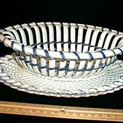 Blue Edge Pearlware Ribbon Basket & Tray w/ Basketweave Decoration c. 1800