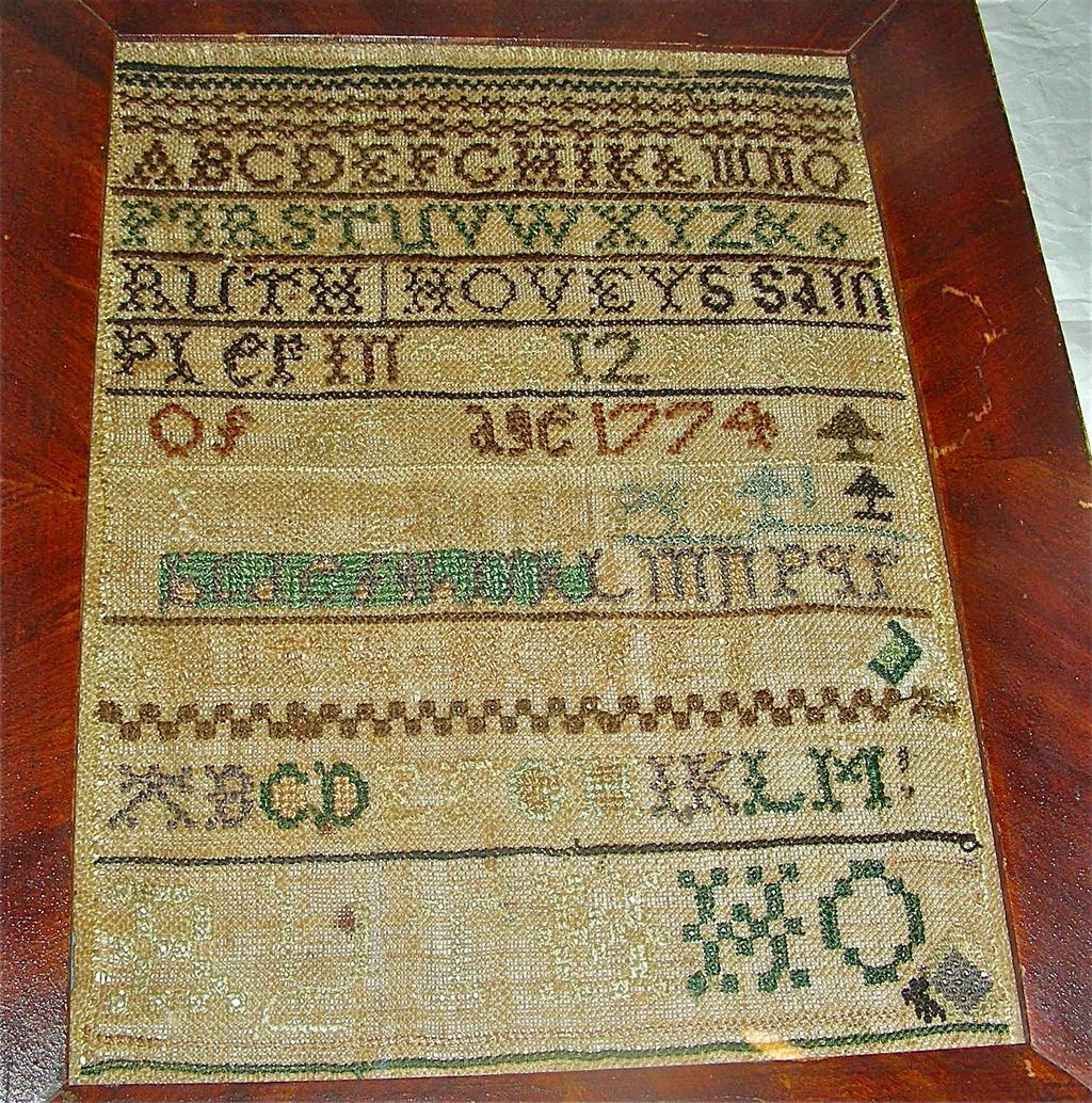 1774 American Needlework Sampler by Ruth Hovey, Oxford, MA w/ Genealogy