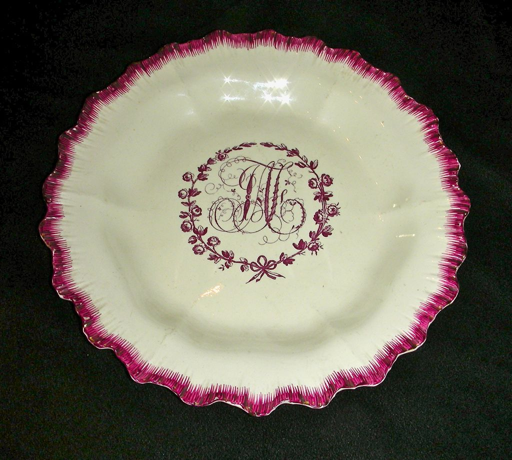 Rare Purple Shell or Feather Edge English Creamware Plate Marked Neale & Co., c. 1790