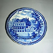 Blue Historical Staffordshire Cup Plate ~ Shirley House, Surrey w/ Stringing Border